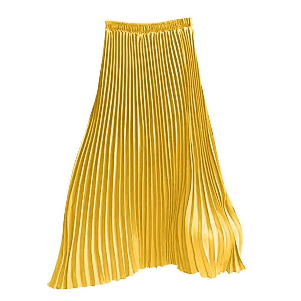 Women Solid Color Pleated Elegant Midi Elastic Waist Women Skirt European and American style long summer skirts plus sizes Mar 9