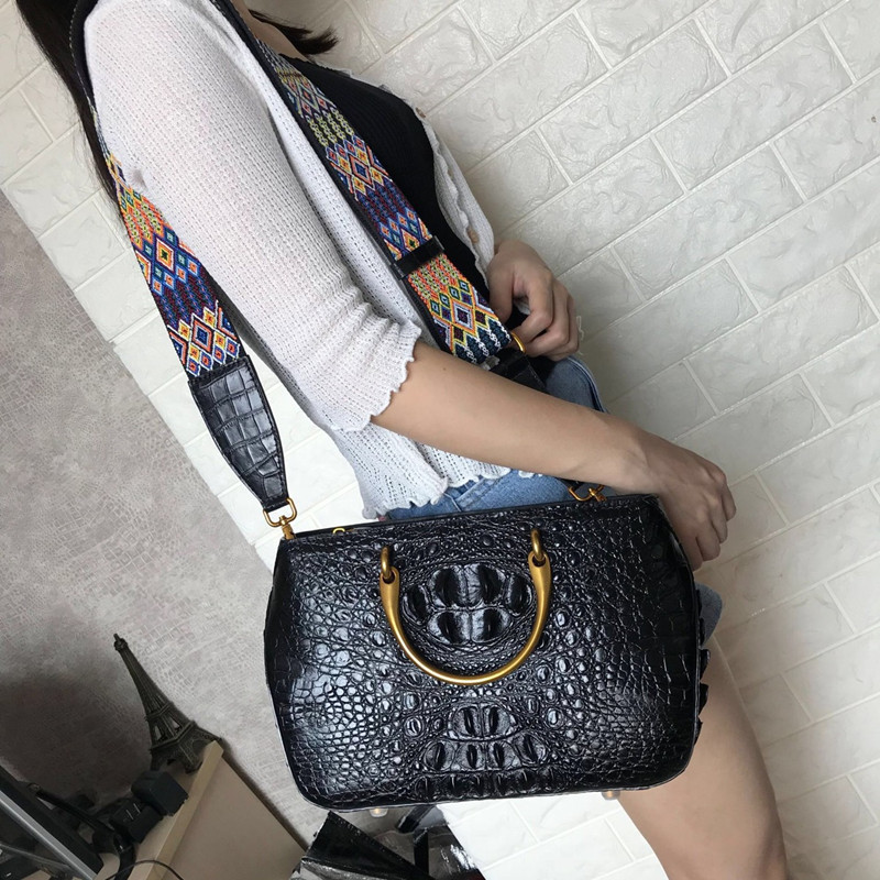 100% Genuine Crocodile Leather Zipper Closure Metal Handle Female Handbag Woven Lanyard Strap Woman Shoulder Bag Lady Saddle Bag