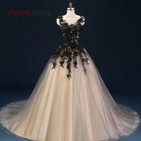 Vivian's Bridal Black Lace Ball Gown Evening Dress Champagne Formal Evening Gown Sleeveless