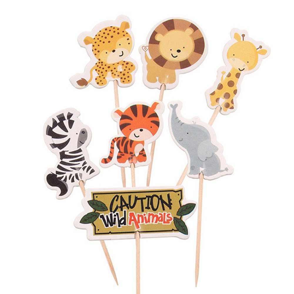 24 шт сафари джунгли мультфильм животных Кекс Picks выбор День рождения украшение детский душ мальчик сувениры кекс Toppers