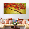 Modern Hand-painted Abstract Pictures Red Cherry Blossom Tree and Flowers Palette Knife Oil Paintings on Canvas 3D Wall Decor 3