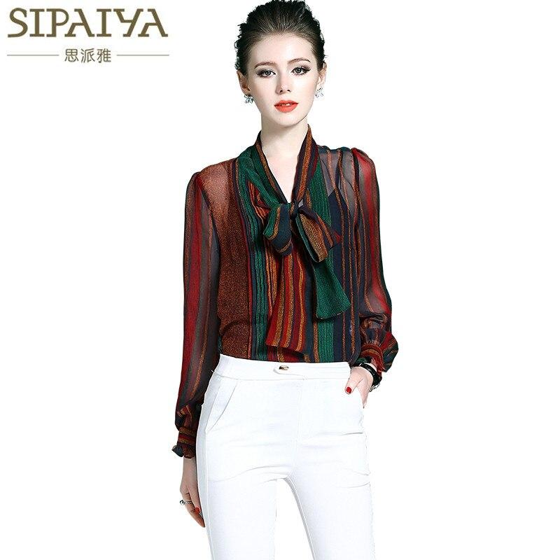 SIPAIYA 2017 Spring Summer Streetwear Runway Designer Silk Blouse Womens Bow Collor High Quality 100 Silk