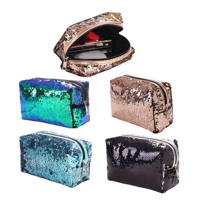 New Fashion Solid Color Sequins Handbag Tote Ladies Purse necessaire de  viagem e higiene pessoal cosmetic bag for make up  W 6e10859ae212