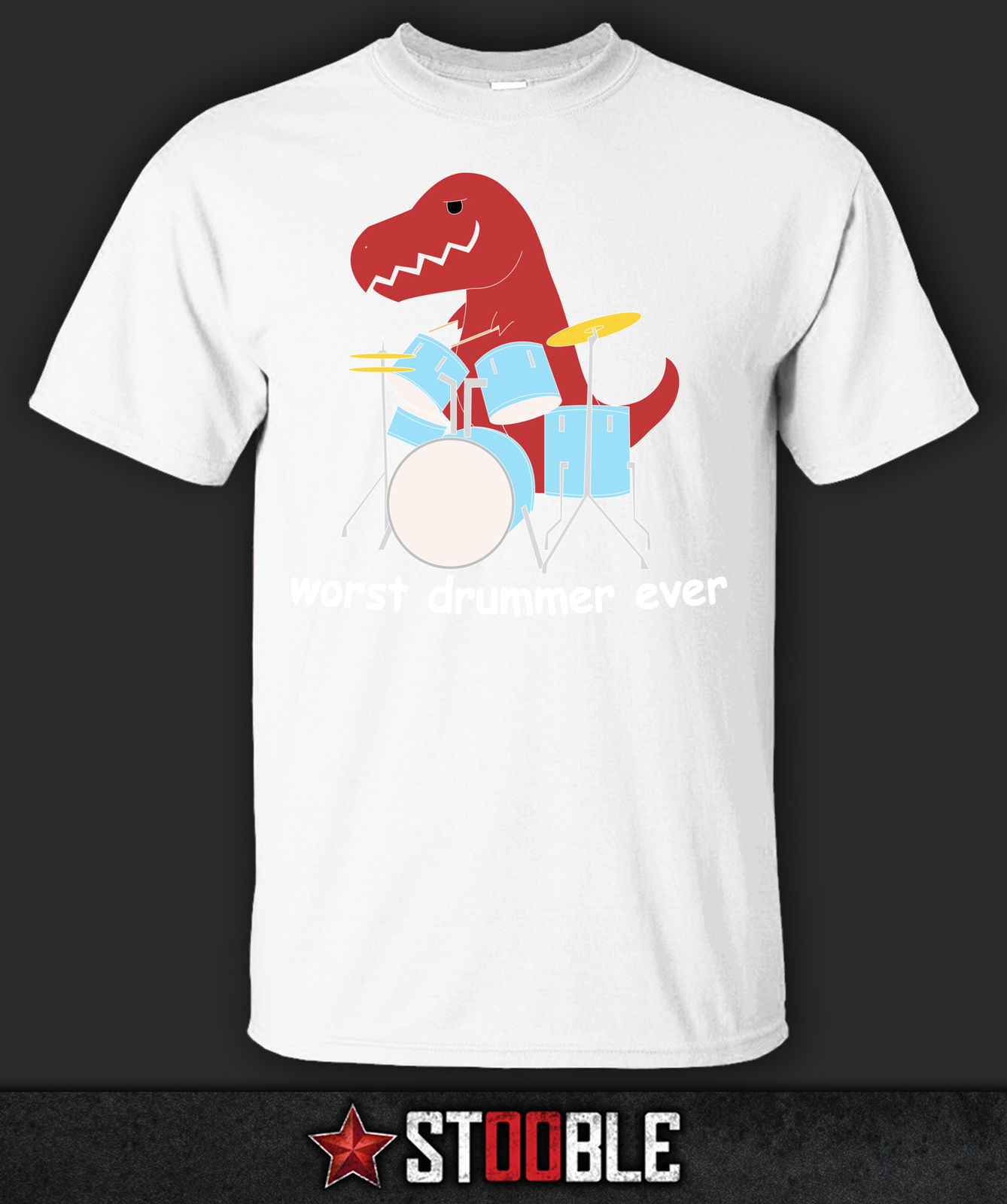 Worst Drummer Ever TRex T-Shirt - Direct from Stockist New T Shirts Funny Tops Tee New Unisex Funny Tops freeshipping image