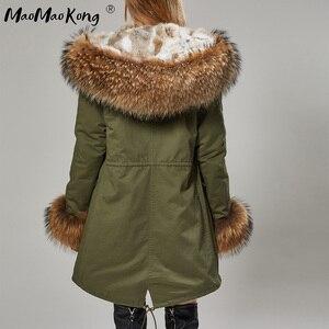Image 3 - Fashion Women Parkas Rabbit Fur Lining Hooded Long  Coat Outwear Army Green Large Raccoon Fur Collar Winter Warm Jacket DHL