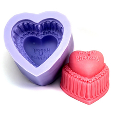 Nicole Silicone Soap Candle Mold 3D Happy Birthday Cake Shaped Mould DIY Handmade Craft Chocolate Resin Clay Decorating Tool