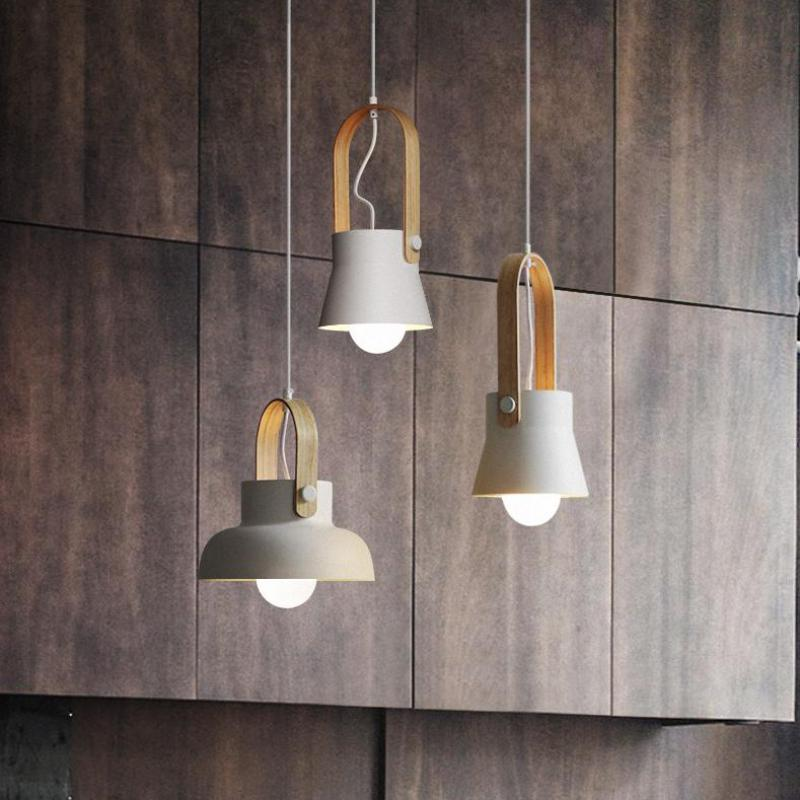 Hanging 1 pcs Bar Lighting wood lamp for coffee shop fashion Store cord Wooden pendant lamp