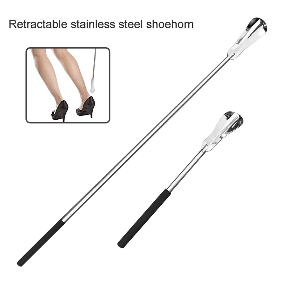 Flexible Stainless Steel Shoehorn Shoe Stick Lifter Spoon Wear Shoe Tool With Long Handle