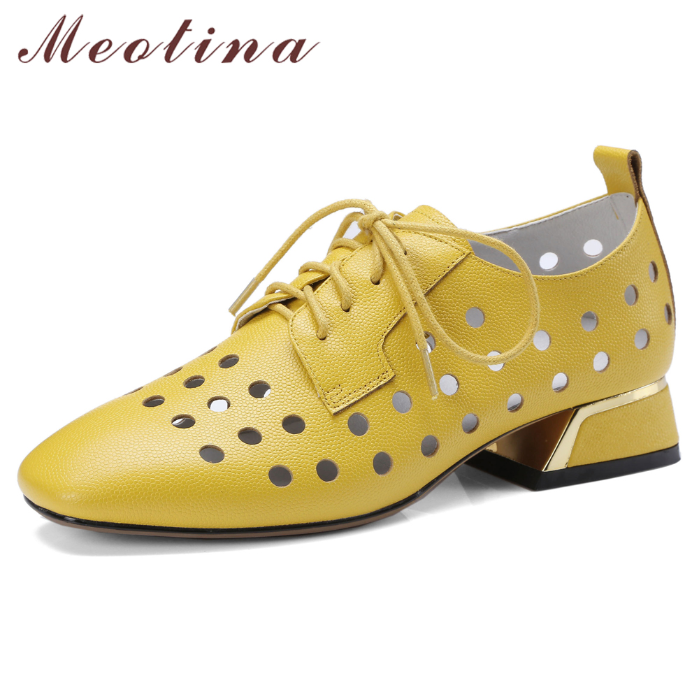 Meotina High Heels Women Shoes Natural Cow Leather Cutout Block Heels Derby Shoes Lace Up Square Toe Pumps Female Big Size 34-42Meotina High Heels Women Shoes Natural Cow Leather Cutout Block Heels Derby Shoes Lace Up Square Toe Pumps Female Big Size 34-42