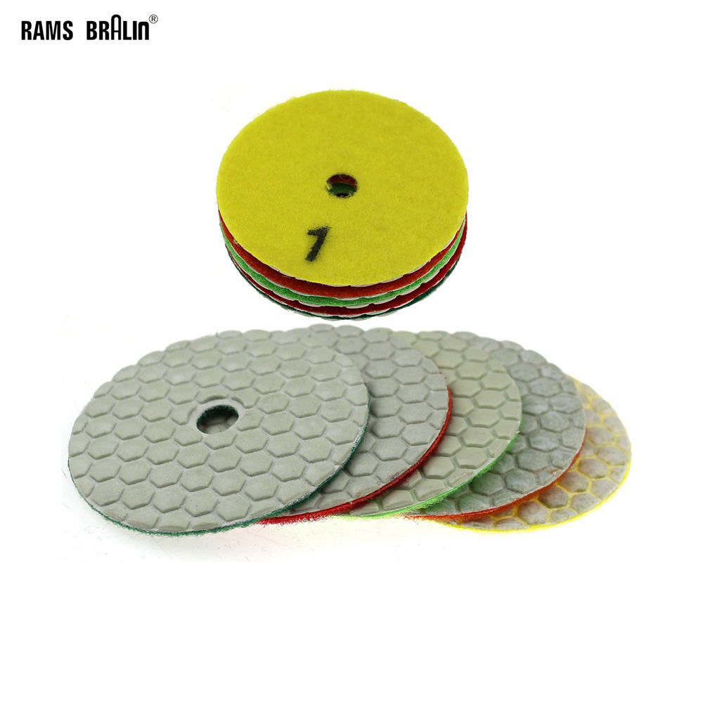 5 Pieces 3 In. Dry Diamond Flexible Grinding Disc Mable Concrete Stone Floor Polishing Renovation