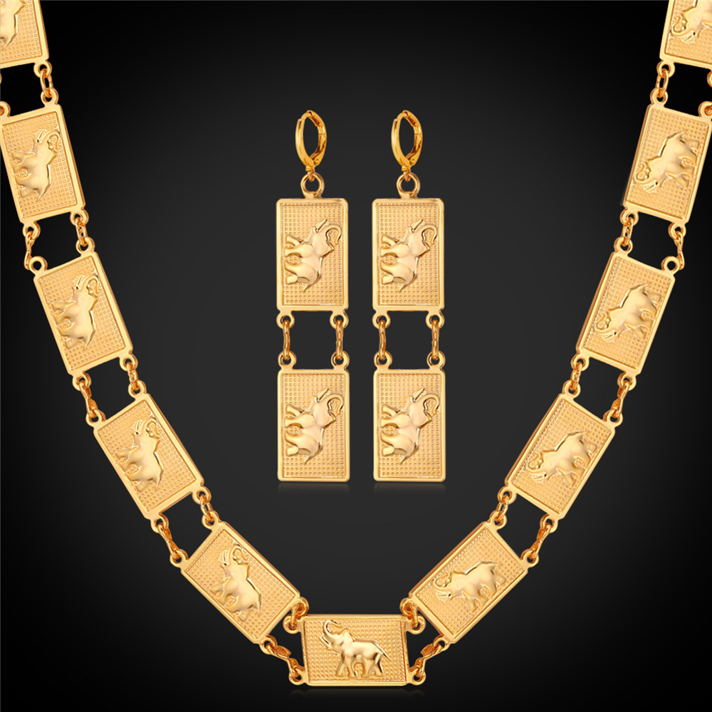Collare Dubai Jewelry Sets For Women Gold/Silver Color Elephant Animal African Earrings Necklace Sets S177