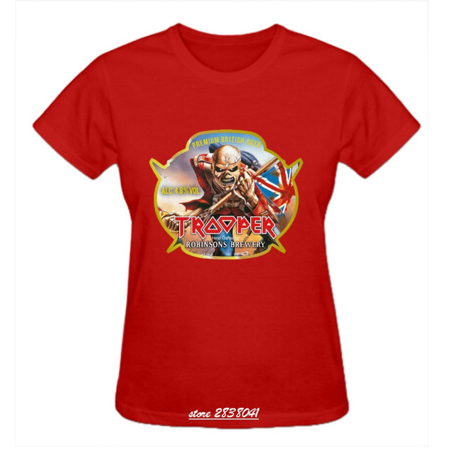 e836ec6be RTTMALL Streetwear Summer t shirts Womens Short Sleeve iron maiden trooper  label Lady Tees Plus Size XL Heavy Metal Band tshirts