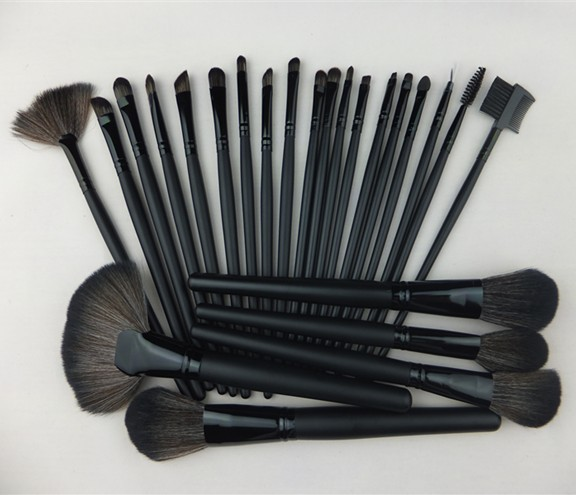 Big Discount !Professional 24Pcs 24 Pcs Cosmetic Facial Make Up Brush Kit Makeup Brushes Tools Set + Leather Case ,Free Shipping hot sale 2016 soft beauty woolen 24 pcs cosmetic kit makeup brush set tools make up make up brush with case drop shipping 31