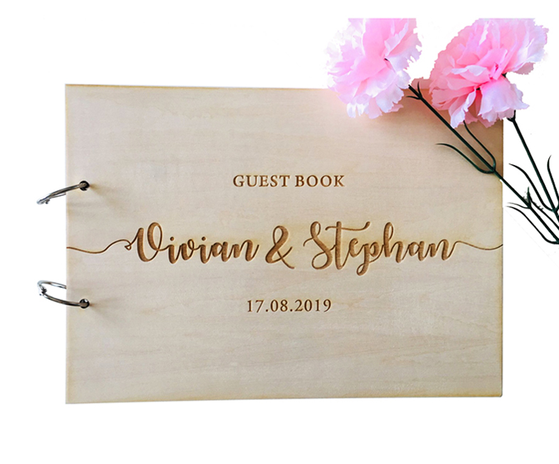 Personalized Name And Date Calligraphy Guest Book Laser Engraved Wedding Guest Book,Rustic Wooden Guestbook,Photo Album