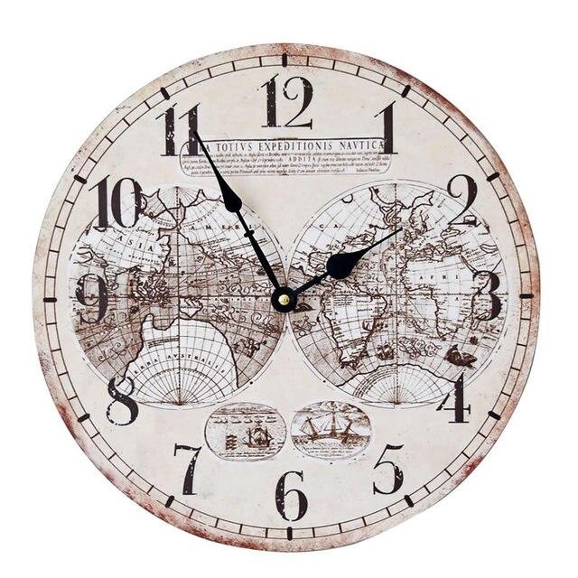 World map europe style fashion nostalgia wood wall clock frameless world map europe style fashion nostalgia wood wall clock frameless paintings large decorative clocks gumiabroncs Image collections