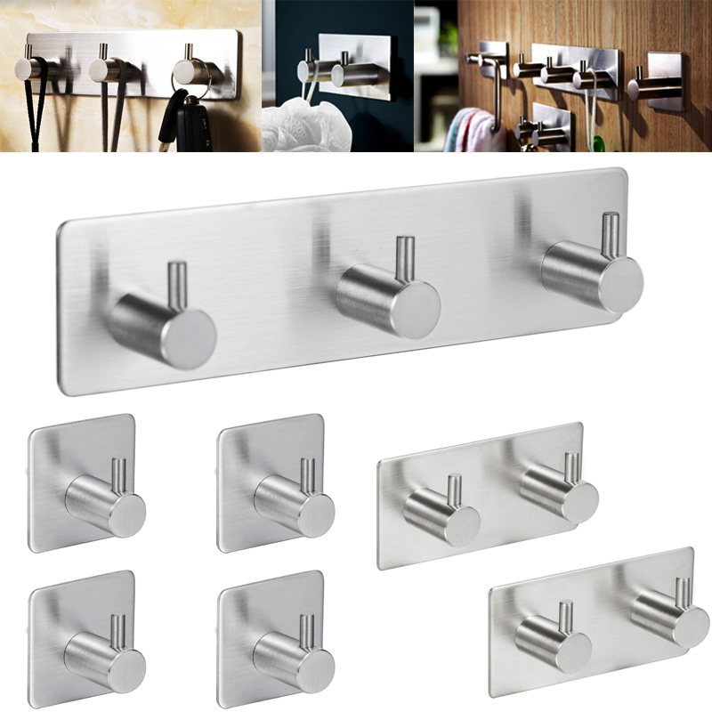 Multi-Purpose Hooks Wall Adhesive Sticker Crochet Key Hangers 304 Top Grade Stainless Steel Kitchen Door Bathroom Home Suckers