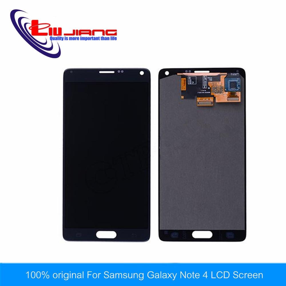 Liujiang original For Samsung Galaxy Note 4 N910 N910A N910T N910V N910P black LCD Screen + Touch Digitizer Glass with LOGO