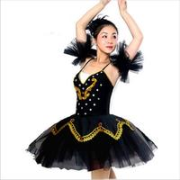Women Ballet Leotard Female Adult Ballet Tutu Dress Black and White Swan Lake Ballet Dance Tutu Costume Diamond Decoration