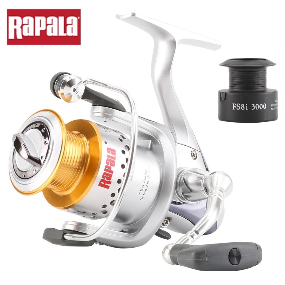 Prix pour 2014 D'origine Rapala FS8i 1000 2000 3000 Spinning Reel Fishing 5.1: 1 9BB En alliage D'aluminium tasse Saltewater moulinet De Pêche + bobine de rechange