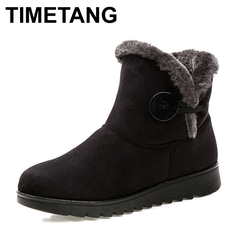 TIMETANG Hot Sale Shoes Women Boots Solid Slip-On Soft Cute Women Snow Boots Round Toe Flat with Winter Fur Ankle Boots sgesvier warm snow boots ankle boots high heel wedge boots retro round toe slip on casual shoes winter shoes for women ox148