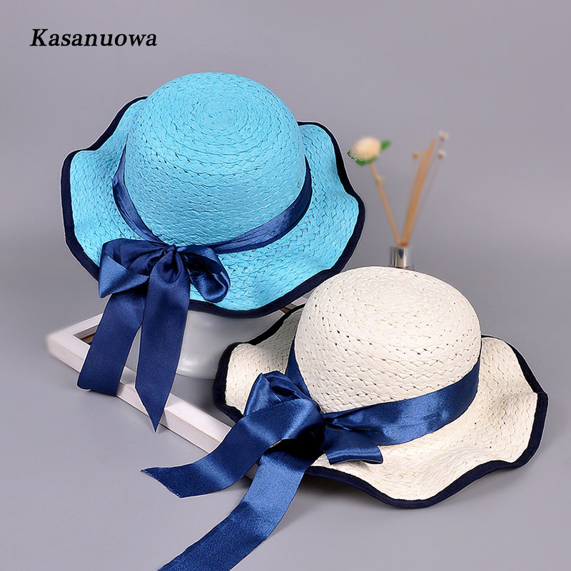 Kasanuowa Casual Style Baby Girl Kids Hat Children Summer Bowknot Hats Large Brimmed Straw Beach Cap Sun Hat for Chidren Girls
