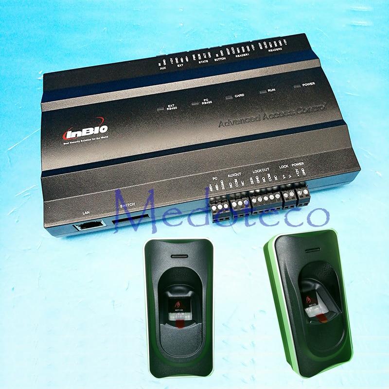 Une porte Panneau De Contrôle D'accès D'empreinte Digitale rfid Système de Contrôle D'accès Inbio 160 Access Controller + FR1200 Lecteur D'empreintes Digitales