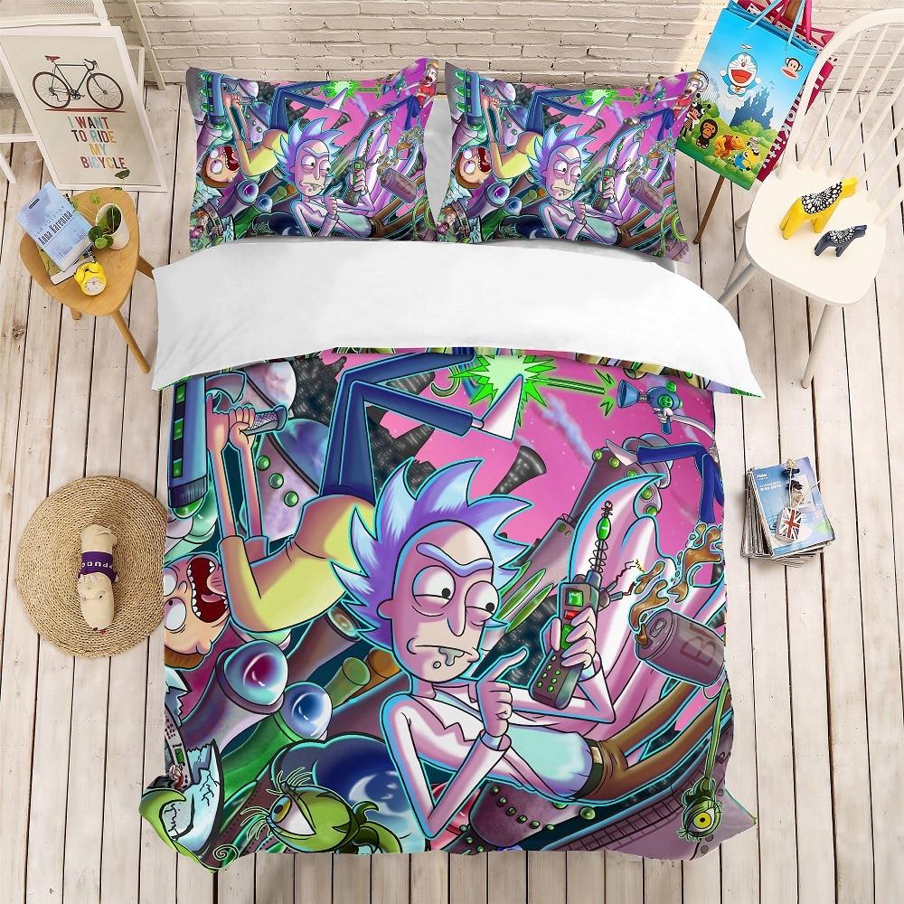 Fashion Kid Bed Linen Set 3PCS Cartoon Character Bedding Set Rick And Morty Microfiber Duvet Cover Set AU/EU/US Size Bedclothes