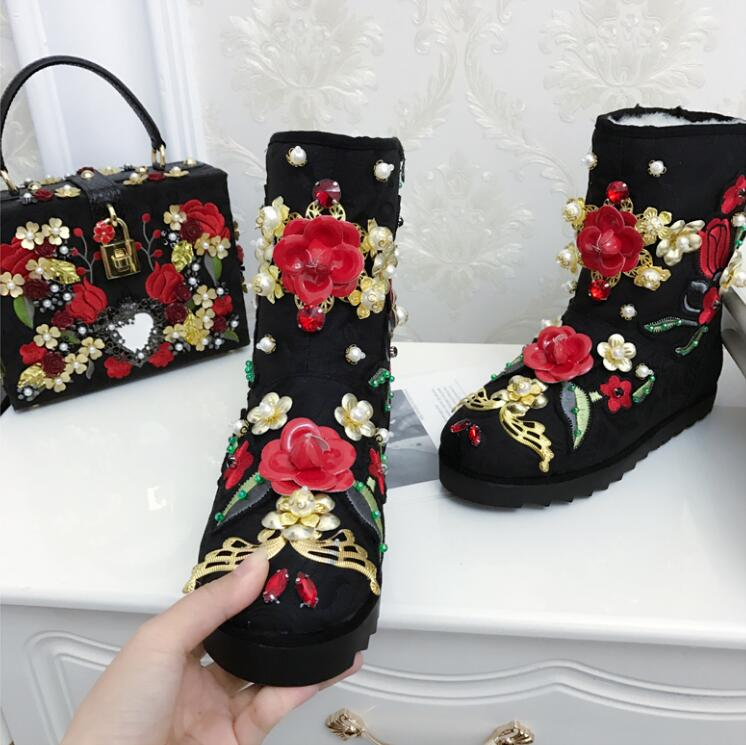 Women Winter Flock Plush Thick Warm Crystal Flowers Flat Snow Boots Casual Fashion Comfortable 2016 New Ankle Shoes 20161206