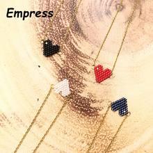 FAIRYWOO Frau Süße Herz Halskette Edelstahl Kette Choker Freundschaft Geschenk Handgemachte Miyuki Halskette Nette Collares Halskette