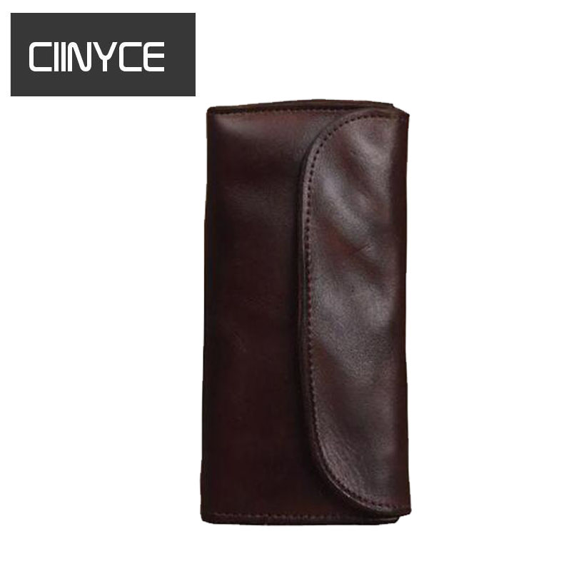 Retro Male Cowhide Clutch  Long Bifold Coin Pocket Genuine Cow Mens Leather Zipper Soft String Card Holders Purses Wallets brand double zipper genuine leather men wallets with phone bag vintage long clutch male purses large capacity new men s wallets