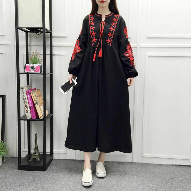 18d9d7b9cb ... AREALNA 2019 autumn Loose Ethnic maxi dress women clothing bohemian  Boho vintage Embroidery Floral Dresses Cotton ...