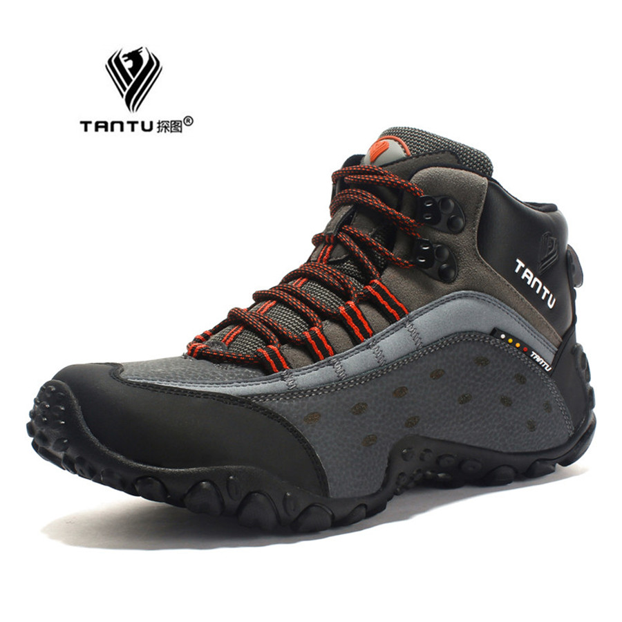 TANTU Men Hiking shoes Breathable Leather outdoor sneaker camping trekking climbing shoes 39 to 46 high sport shoes