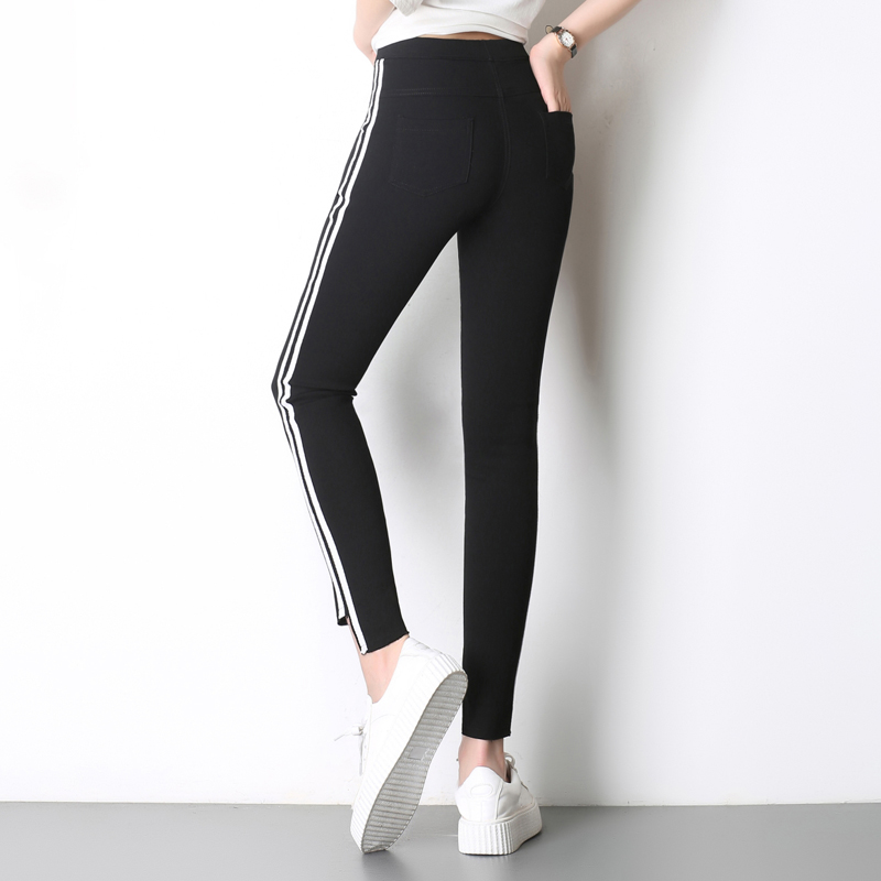 f5eea9cc13a 2017 Top Fashion Women Side Stripes Harem Pants Women Black Casual High  Waist Pants Plus Size Drawstring Trousers Pantalon Femme-in Leggings from  Women s ...