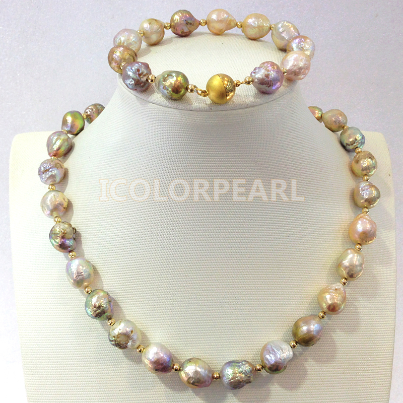 Nicest 10-12mm Colorful Waterdrop/irregular Natural Freshwater Pearl Jewelry Set With 10K Gold Beads And Magnet Clasp.. Nicest 10-12mm Colorful Waterdrop/irregular Natural Freshwater Pearl Jewelry Set With 10K Gold Beads And Magnet Clasp..