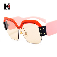 Fashion Half Frame Women Square Sunglasses Vintage Men Blue Integrated Tinted Lens Shades UV400