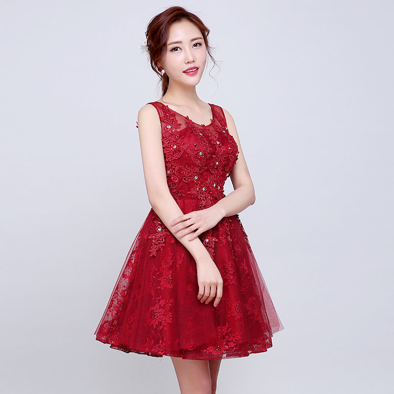2016 Robe De Soiree Red Beading Lace Slit Short   Cocktail     Dresses   luxury Formal Prom Gown burgundy Prom   Dresses   robe rouge