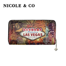 NICOLE & CO Women Wallets PU Leather Long Style Card Holder Money Purse Fashion Female Zipper Hand Phone Bag
