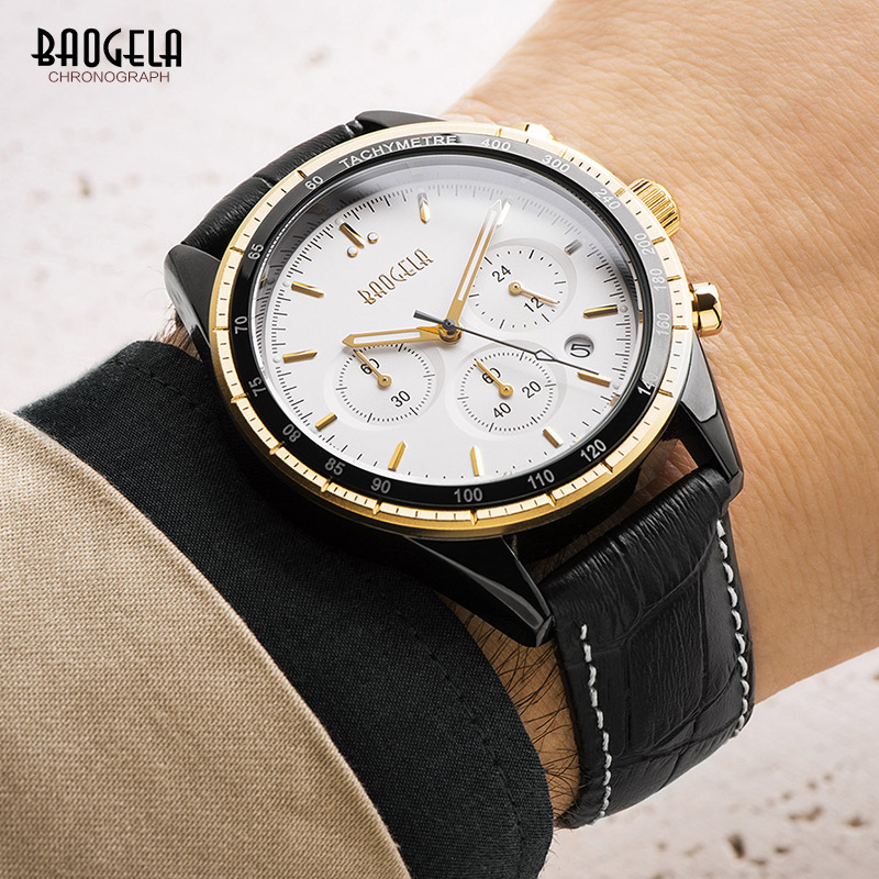 BAOGELA Men's Leather Strap Quartz Watches Casual Sports Chronograph Analogue Wrist Watch Luminous Hands Black 1707GL-2