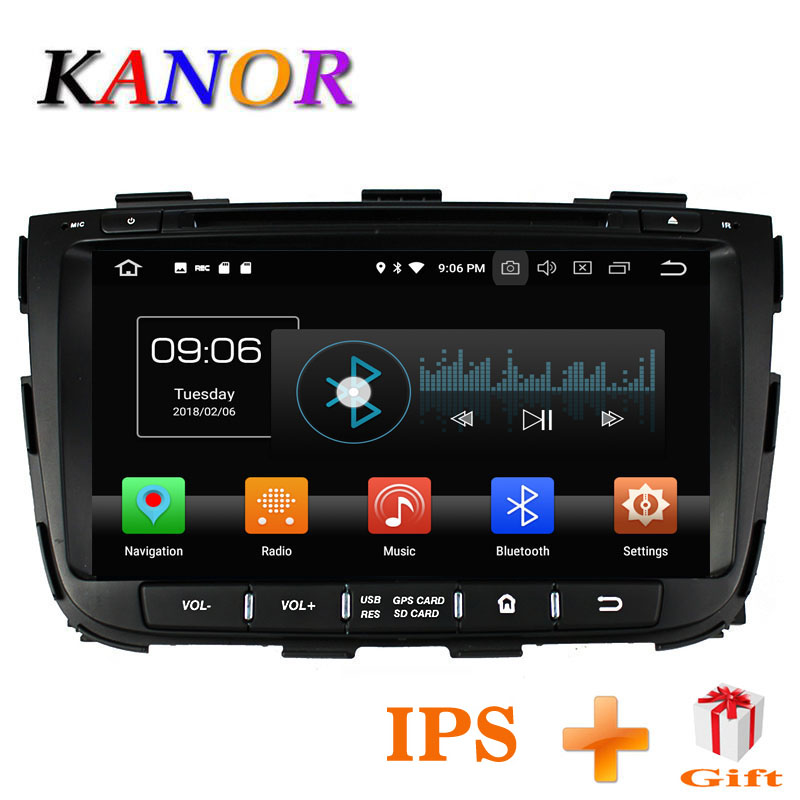 KANOR Octa Core IPS Android 8.0 RAM 4g 32g ROM 2 din Radio samochodowe dla KIA Sorento 2013 GPS Radio WIFI Bluetooth Map USB Audio