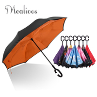 Drop Shipping Windproof Reverse Folding Double Layer Inverted Chuva Umbrella Self Stand Rain Protection C Hook
