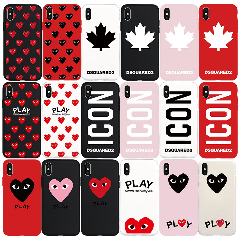 Brand NEW DS2 ICON Maple Leaf CDG PLAY Soft Case for iPhone 8Plus 8 7Plus 7 6s 6 Plus X Xs XR Xs Max SE 5s 5 SE Phone Cover Case iPhone 8