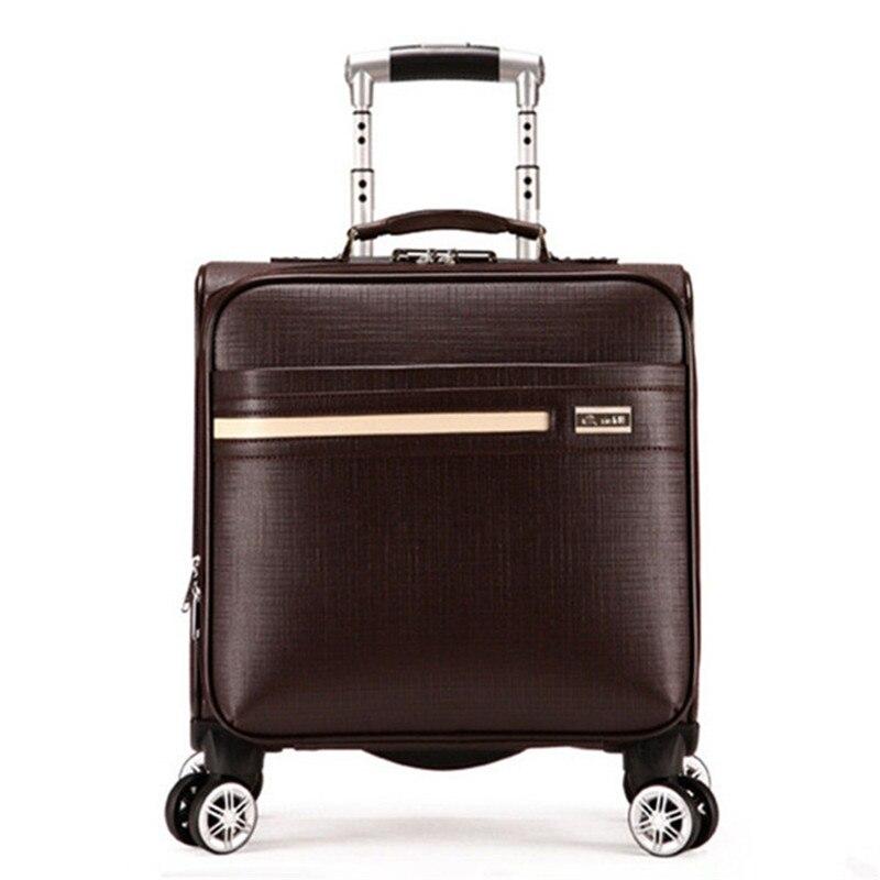 цена на 16-inch New PU leather trolley suitcase Spinner wheels boarding box men women Business travel case rolling luggage mala valiz