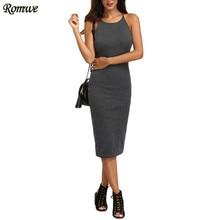 ROMWE Womens Grey Crisscross Backless Sleeveless Sheath Dresses Ladies Summer Casual Spaghetti Strap Knee Length Dress