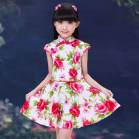 New Arrival 2017 Girls Chinese Cheongsam Cotton Children S Straight Elegant Dresses Kids Baby Traditional Chinese