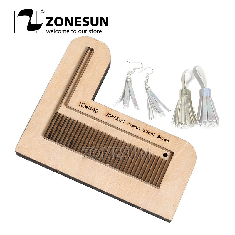 ZONESUN 128 Customized leather cutting die shape DIY craft supply tassels steel rule die cut classical Cellphone Strap earring applicatori di etichette manuali