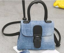 Horseshoe buckle new fashion denim handbags,simple and elegant retro shoulder bag woman bag diagonal belt buckle,lady's cute bag