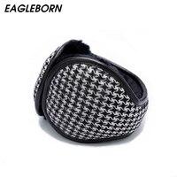 EAGLEBORN Winter Knitted Earmuffs For Men Women Foldable Ear Warmers Ear Bag Adjustable Warm Plush Earmuffs