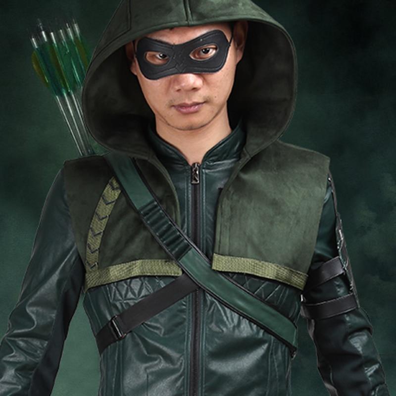 Green Arrow Säsong 3 Kostym Oliver Queen Cosplay Outfit Halloween Superhero Mänskdräkter Coat Carnival Clothes Party Custom Made