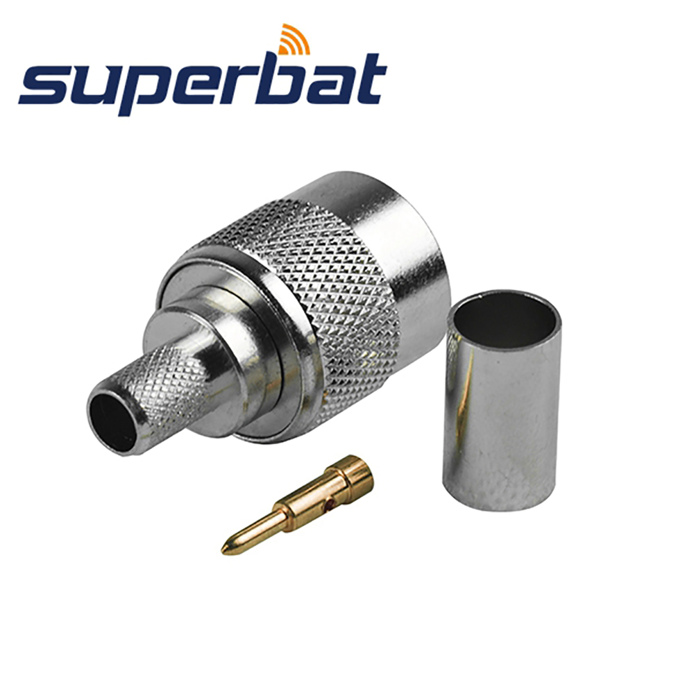 Superbat 10pcs RF Connector TNC Clamp Plug Male for Coaxial Cable LMR240 RG59 free shipping