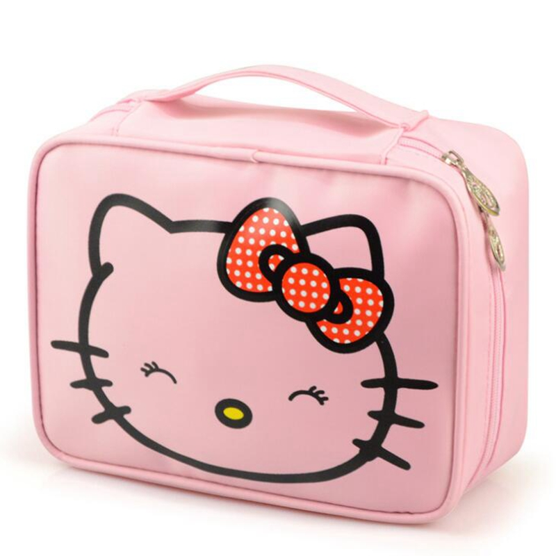 Cartoon Hello Kitty Profession Cosmetic Bag Women Travel Zipper Makeup Bag Organizer Make Up Case Storage Pouch Toiletry Bag